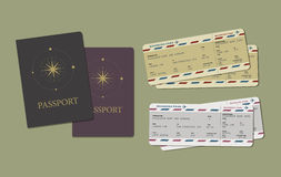 Passport & Boarding Pass. Passport and Boarding Pass. Travel and adventure Royalty Free Stock Images