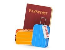 Passport book with luggage scene Stock Image