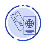 Passport, Business, Tickets, Travel, Vacation Blue Dotted Line Line Icon royalty free illustration