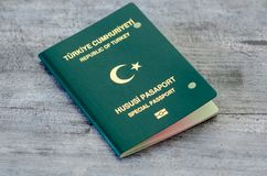 Passport canceled by the authorities. It was removed from use by drilling with staples royalty free stock photos