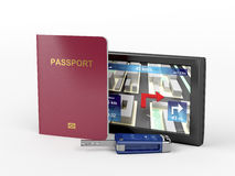 Passport, car key and navigation device Royalty Free Stock Photography