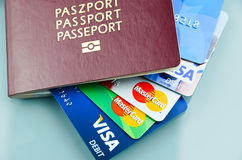 Passport with cards. Passport with credit and debit cards inside Royalty Free Stock Photos