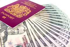 Passport Cash Stock Photo