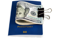 Passport of a citizen of the country and dollars. Money, passport, travel to any country Royalty Free Stock Photography