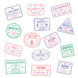 Vector icons of city passport stamps world travel. Passport city names stamps set. Kuala Lumpur, Ankara or America Los Angeles and Helsinki, Brussels, Abu Dhabi vector illustration