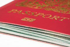 Passport close up. UK passport  on light background Stock Image