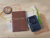 Passport, compass, camera Stock Photo
