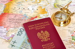 Passport , compass & map Stock Image