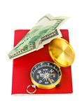 Passport, compass and money plane - travel concept Royalty Free Stock Photography
