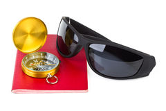 Passport, compass and sunglasses Stock Image