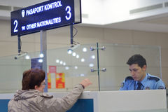 Passport control in Ataturk airport, Istanbul, Turkey Royalty Free Stock Images