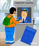 Passport control. Border control concept in flat design. Man gives a passport to check customs officers royalty free illustration