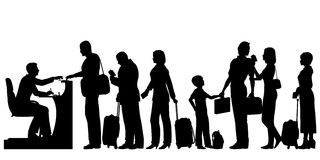 Passport control. Editable vector silhouettes of a queue of people at an immigration desk with all figures and luggage as separate objects Royalty Free Stock Image