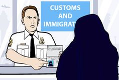 Passport control of woman wearing niqab Royalty Free Stock Photography