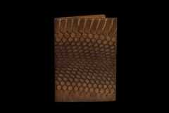 Passport cover of snake skin on a black background. Cover on the passport snakeskin brown on a black background Stock Photos