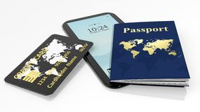 Passport, credit card and tablet/smartphone Stock Image