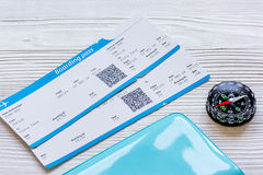 Passport, credit card, tickets on wooden background Royalty Free Stock Photo