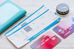 Passport, credit card, tickets on wooden background Royalty Free Stock Images