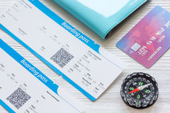Passport, credit card, tickets on wooden background Stock Images