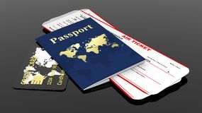 Passport, credit card and two air tickets Stock Photos