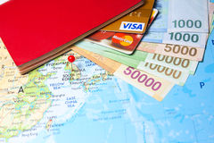 Passport, credit cards and South Korean currency Stock Photos