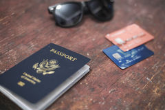 Passport credit cards and sunglasses travel concept Stock Image