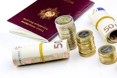 Passport and currency focuses on Euro banknotes Royalty Free Stock Images