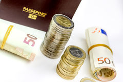 Passport and currency focuses on Euro banknotes Royalty Free Stock Image