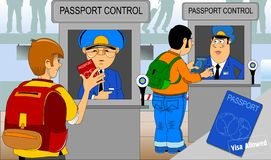 Passport and customs control. Border control concept in flat design. Man gives a passport to check customs officers stock illustration