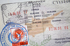 Passport with Cyprus visa and stamps Stock Images
