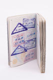 Passport. Detail in passport over white background Stock Photography