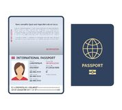 Passport document. Id international paper passport page with photo legal sample isolated vector template. Passport document. Id international paper passport page royalty free illustration