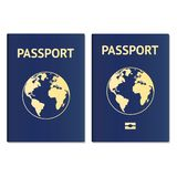 Passport document ID. International pass for tourism travel. Emigration passport citizen ID with globe. Vector icon. Eps10 royalty free illustration