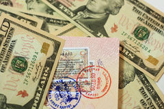 Passport with dollar,. Passport with stamps with us dollar, concept of travel Royalty Free Stock Image