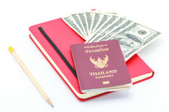 Passport and dollar. Stock Photo