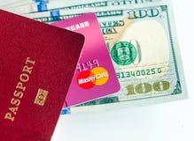Passport, dollars bills and credit card Royalty Free Stock Photos