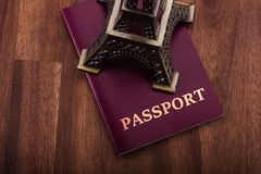 Passport with Eiffel. Travel to Paris concept Royalty Free Stock Image