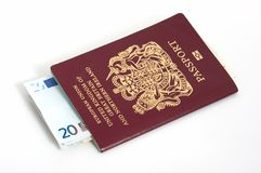 Passport and euro Stock Photo
