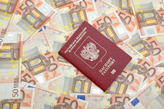 Passport on euro background closeup. Passport on a background of banknotes fifty euros. horizontal photo Royalty Free Stock Images