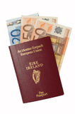 Passport with Euro cash. European Passport with euro cash isolated on a white background stock photos
