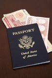 Passport with euro and dinar Royalty Free Stock Image
