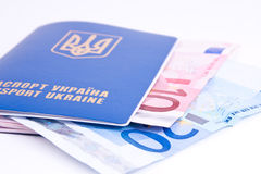 Passport with euro money Royalty Free Stock Image