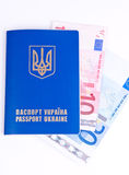 Passport with euro money Stock Images