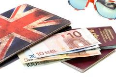 Passport with Euro money Stock Photography