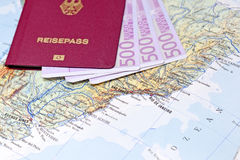 Passport with euro notes on  Map Stock Images