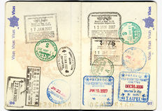 Passport european with stamps. Different Passport stamps close up stock photo