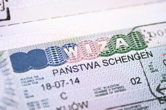Passport with European Union Shengen Visa close Stock Image