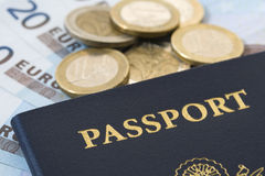 Passport with Euros Stock Photos