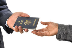 Passport exchange Stock Photography
