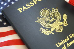 Passport and flag Stock Images